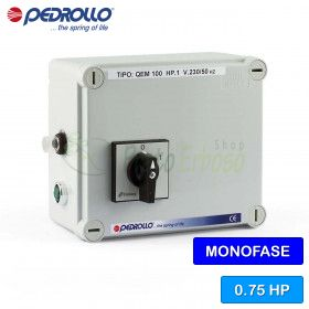 QEM 075 - electric panel for electric pump, single-phase 0.75 HP