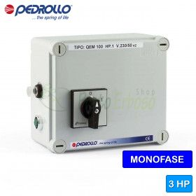 QEM 300 - Electric panel for 3 HP single-phase electric pump